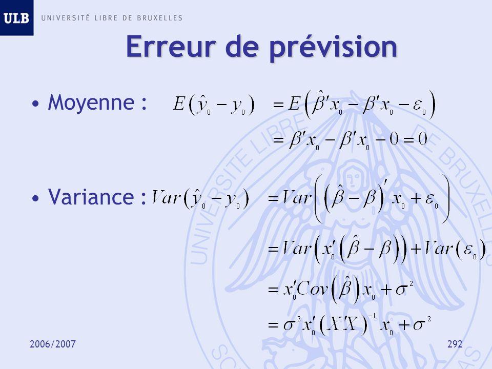 2006/2007293 Intervalle de prévision A 95%, approximativement : Pour la moyenne de y 0, à 95% :