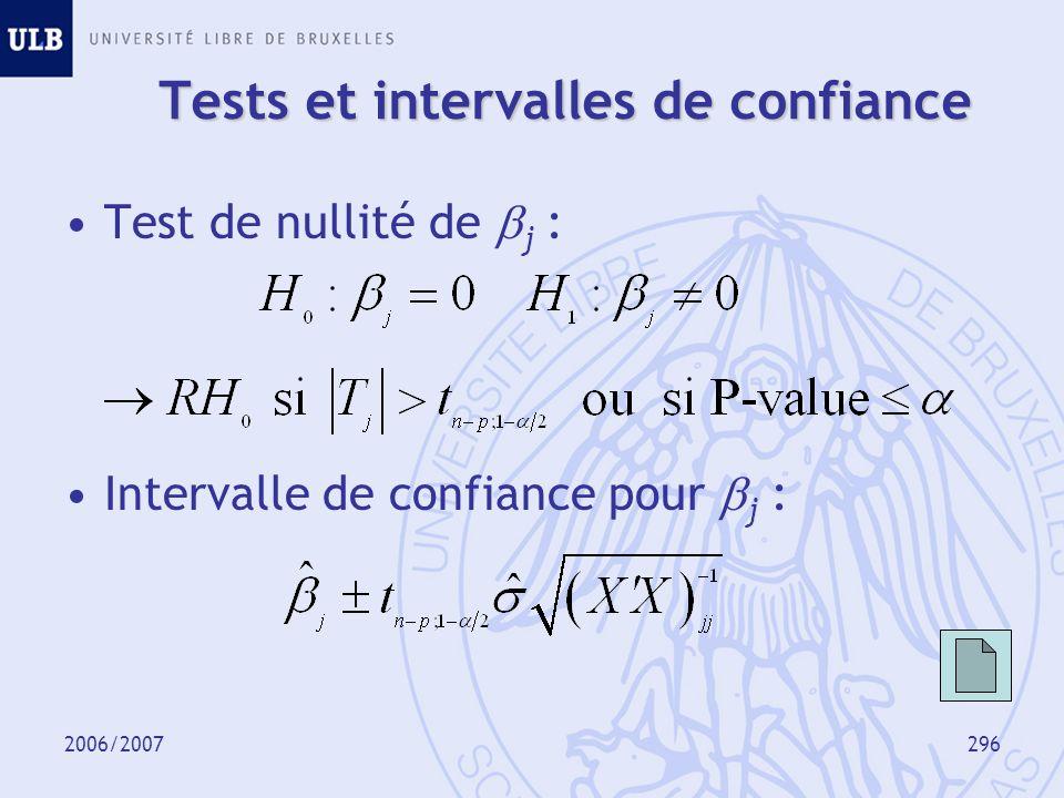 2006/2007297 Tests et intervalles de confiance P-value :
