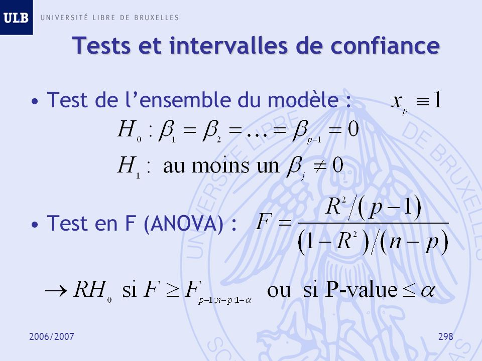 2006/2007299 Modélisation Vérification des hypothèses de base –Analyse des résidus –Analyse des valeurs extrêmes Sélection des variables explicatives –Comparaison de modèles –Méthodes de sélection