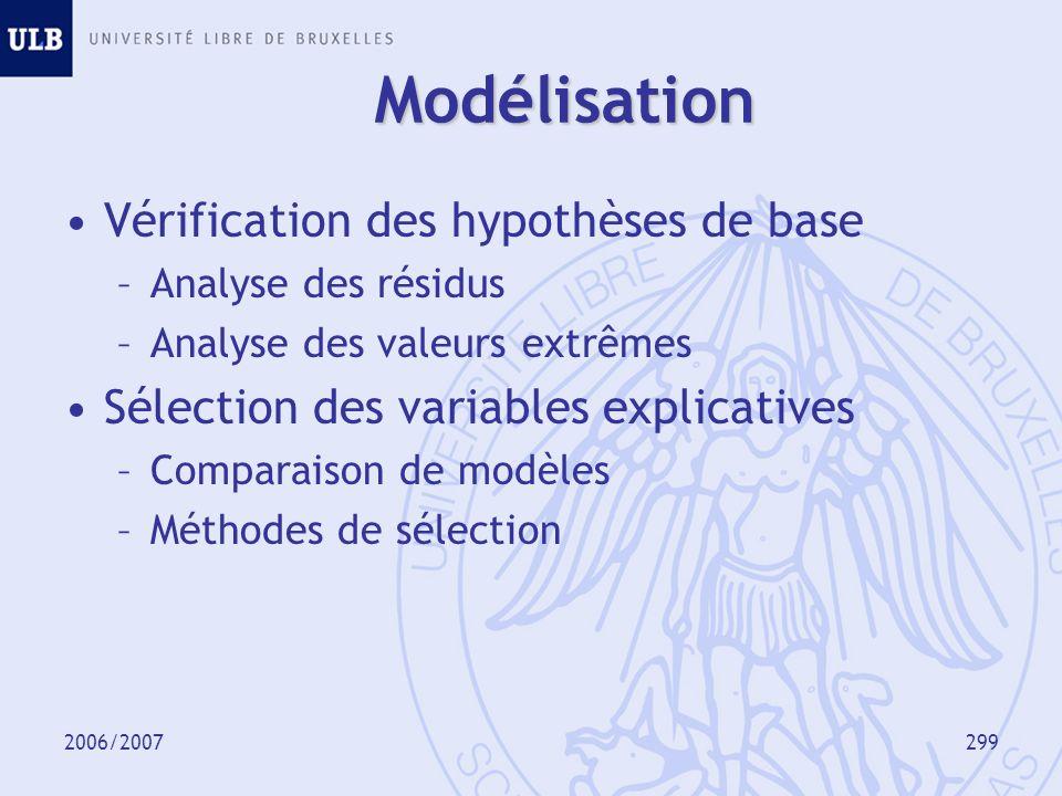 2006/2007300 Analyse des résidus Idée : les résidus devraient ne présenter aucune structure particulière.