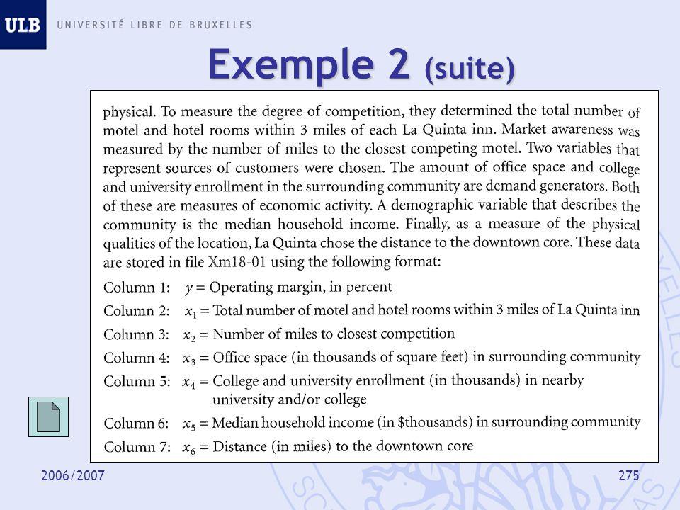 2006/2007276 Modèle y : variable dépendante (à expliquer, endogène), x 1,…, x p : variables indépendantes (explicatives, exogènes), : terme derreur, perturbation.