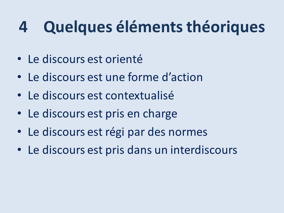4 Quelques éléments théoriques Le discours est orienté Le discours est une forme daction Le discours est contextualisé Le discours est pris en charge