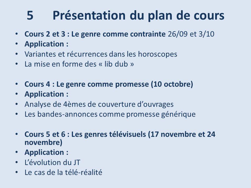 5 Présentation du plan de cours Cours 2 et 3 : Le genre comme contrainte 26/09 et 3/10 Application : Variantes et récurrences dans les horoscopes La m