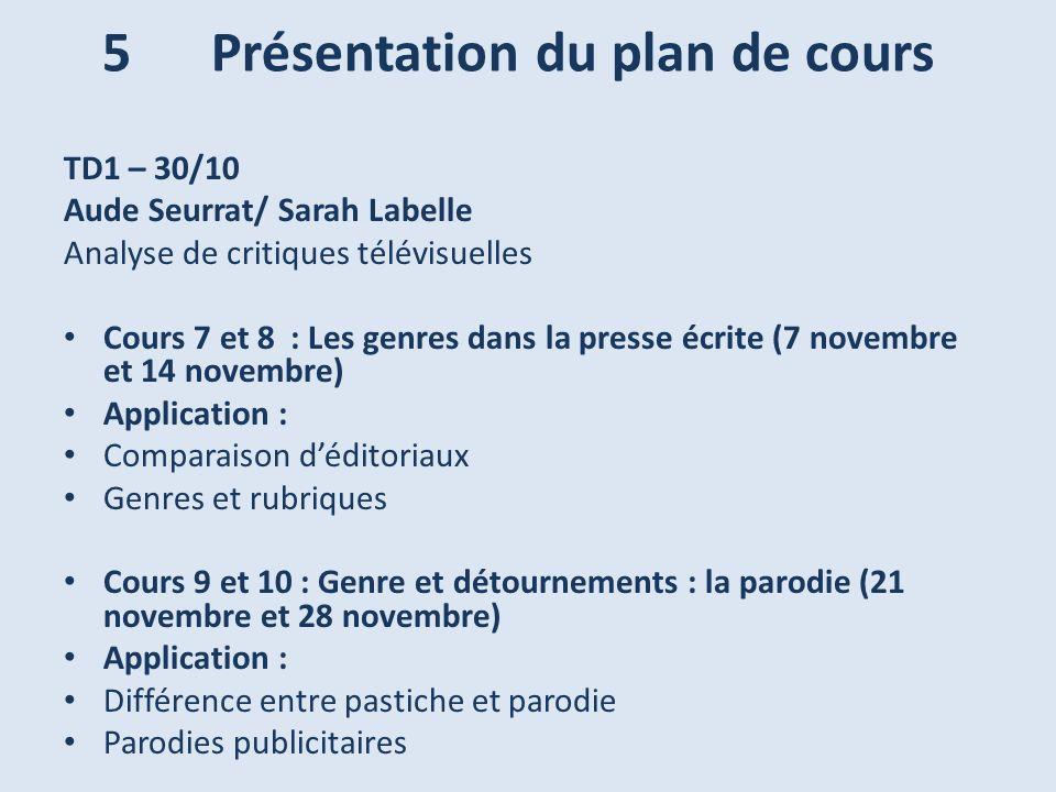 TD1 – 30/10 Aude Seurrat/ Sarah Labelle Analyse de critiques télévisuelles Cours 7 et 8 : Les genres dans la presse écrite (7 novembre et 14 novembre)