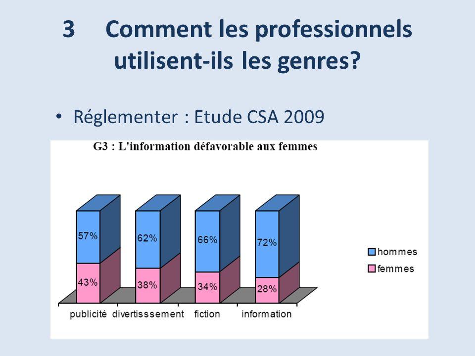 Réglementer : Etude CSA 2009 3 Comment les professionnels utilisent-ils les genres?