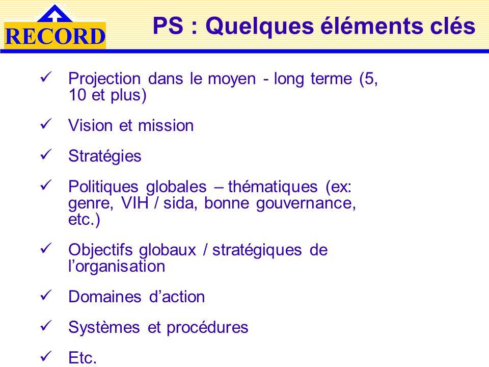 PS : Quelques éléments clés Projection dans le moyen - long terme (5, 10 et plus) Vision et mission Stratégies Politiques globales – thématiques (ex: