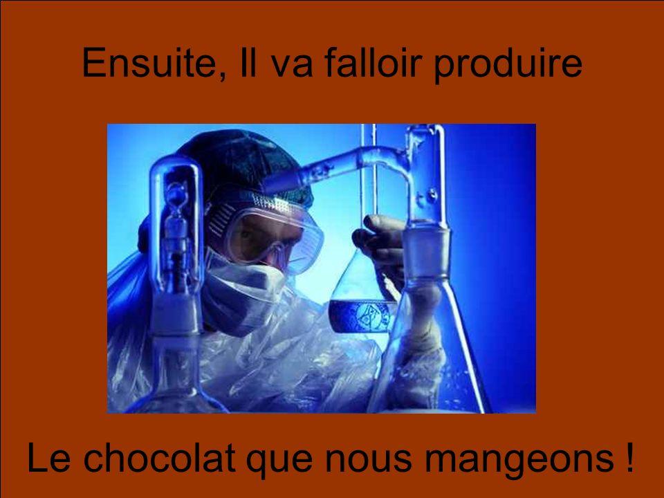 Ensuite, Il va falloir produire Le chocolat que nous mangeons !