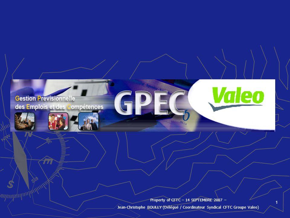 1 Property of CFTC – 14 SEPTEMBRE 2007 – Jean-Christophe BOULLY (Délégué / Coordinateur Syndical CFTC Groupe Valeo)
