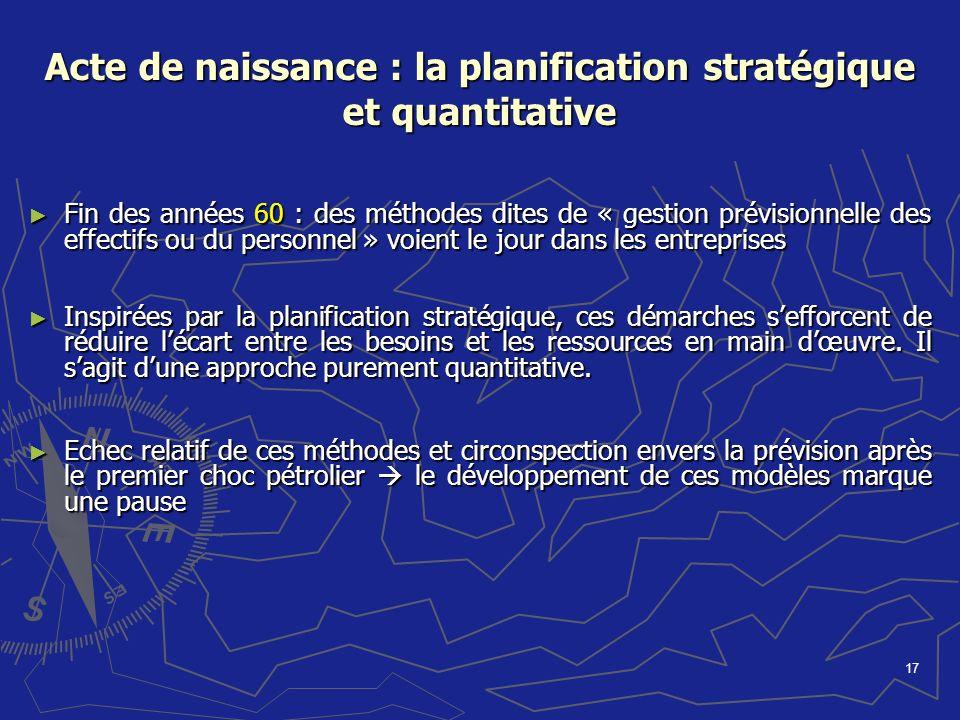 17 Acte de naissance : la planification stratégique et quantitative Fin des années 60 : des méthodes dites de « gestion prévisionnelle des effectifs o