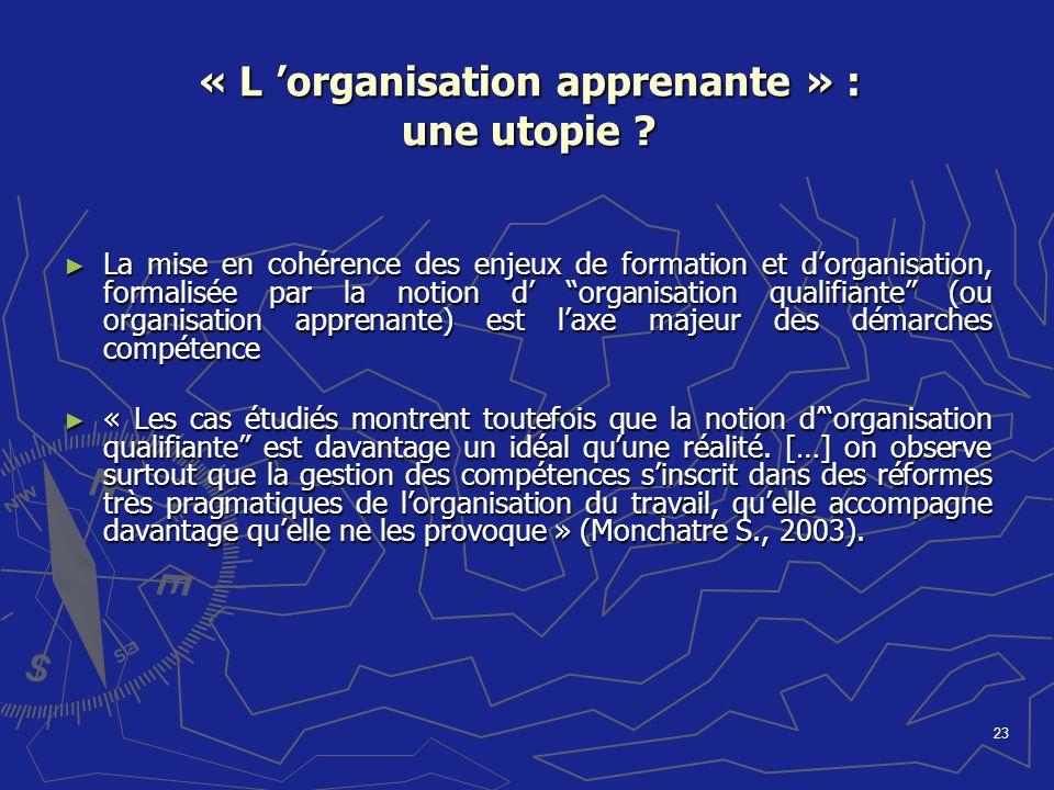 23 « L organisation apprenante » : une utopie ? La mise en cohérence des enjeux de formation et dorganisation, formalisée par la notion d organisation