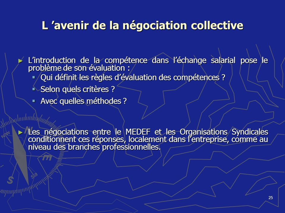 25 L avenir de la négociation collective Lintroduction de la compétence dans léchange salarial pose le problème de son évaluation : Lintroduction de l
