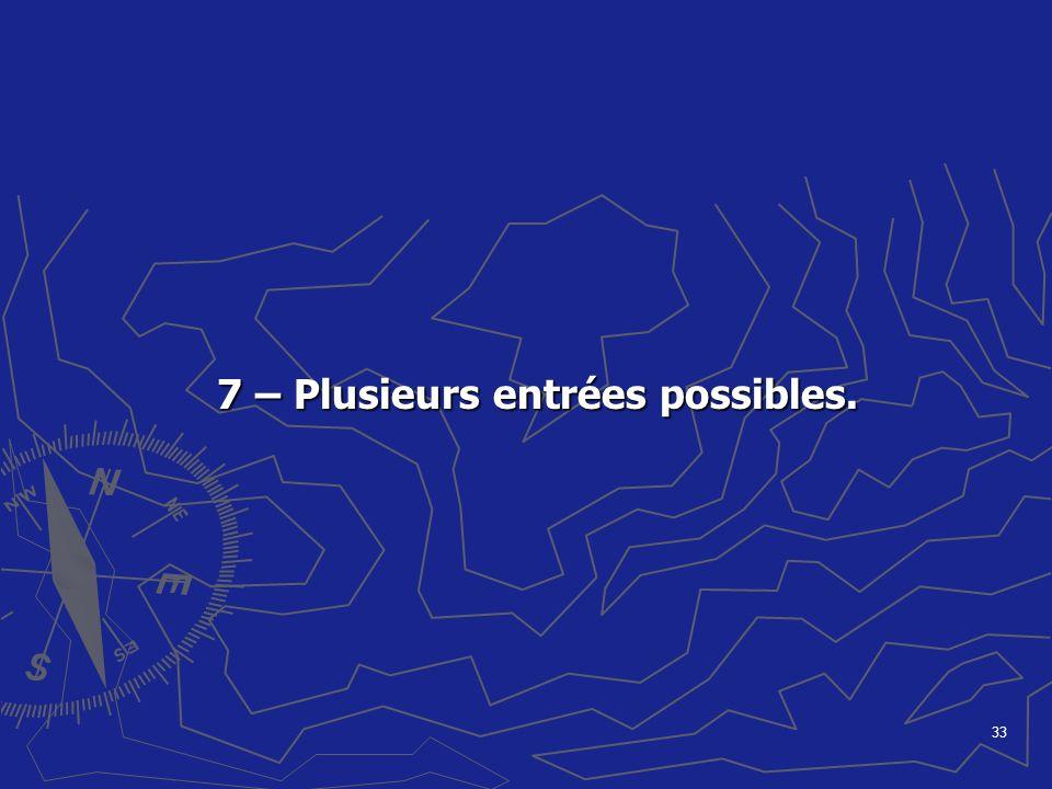 33 7 – Plusieurs entrées possibles. 7 – Plusieurs entrées possibles.