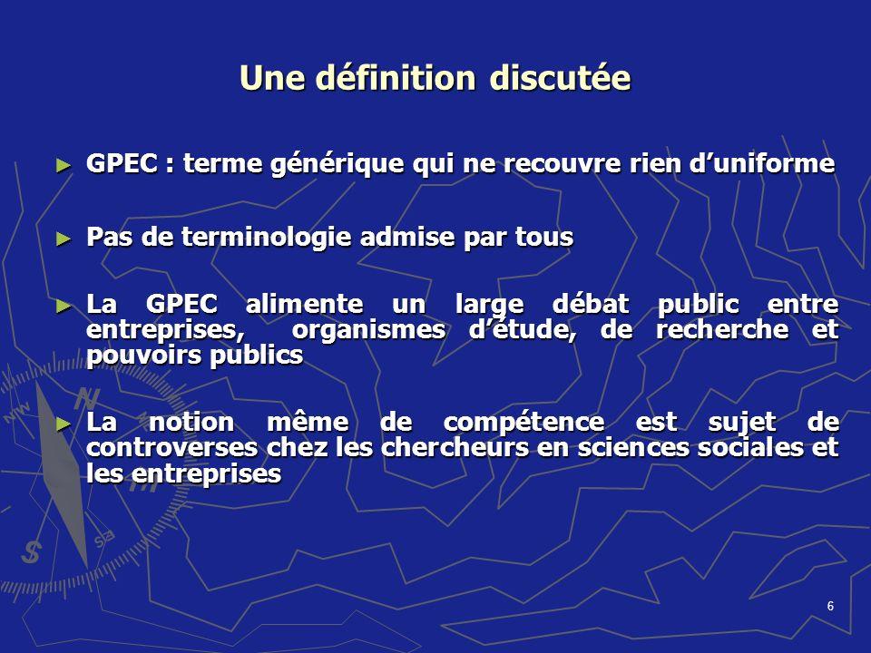 6 Une définition discutée GPEC : terme générique qui ne recouvre rien duniforme GPEC : terme générique qui ne recouvre rien duniforme Pas de terminolo