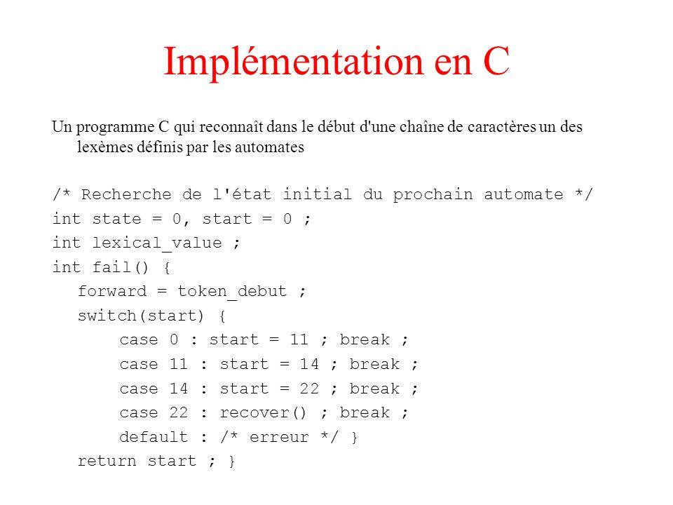 Implémentation en C Un programme C qui reconnaît dans le début d'une chaîne de caractères un des lexèmes définis par les automates /* Recherche de l'é
