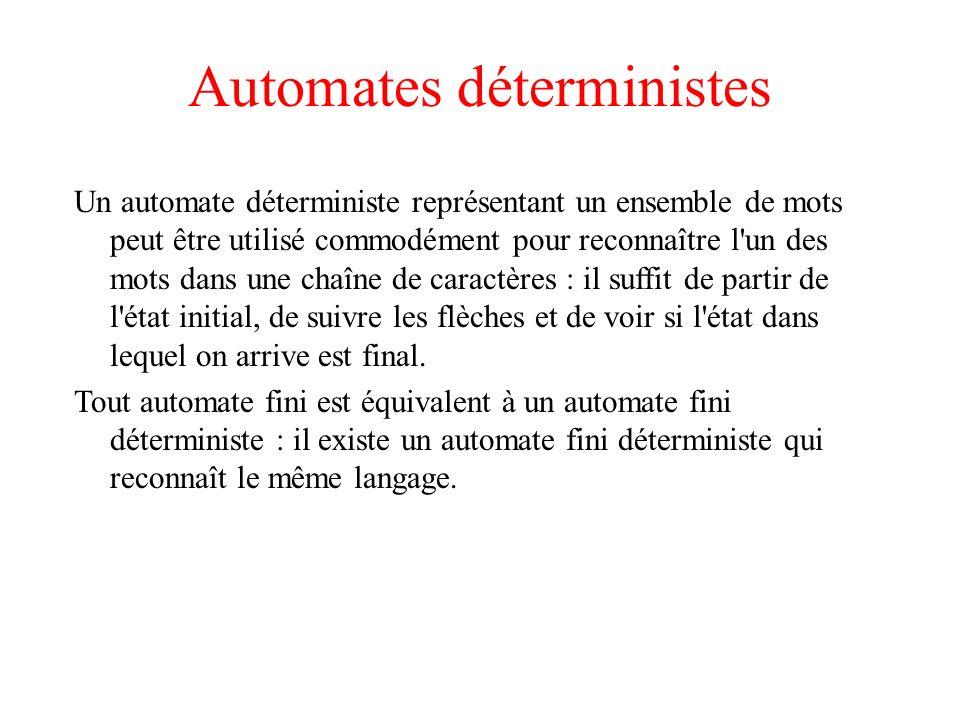 Automates déterministes Un automate déterministe représentant un ensemble de mots peut être utilisé commodément pour reconnaître l'un des mots dans un