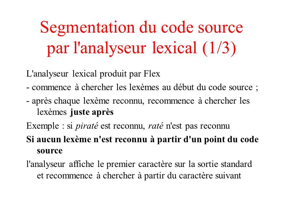 Segmentation du code source par l'analyseur lexical (1/3) L'analyseur lexical produit par Flex - commence à chercher les lexèmes au début du code sour