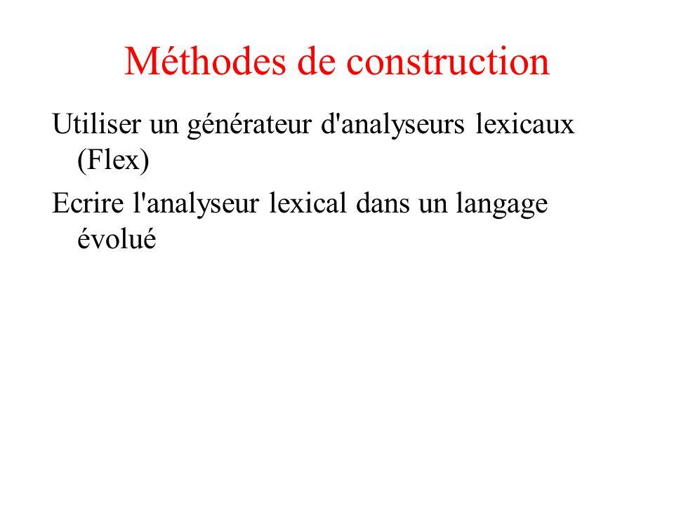 Méthodes de construction Utiliser un générateur d'analyseurs lexicaux (Flex) Ecrire l'analyseur lexical dans un langage évolué