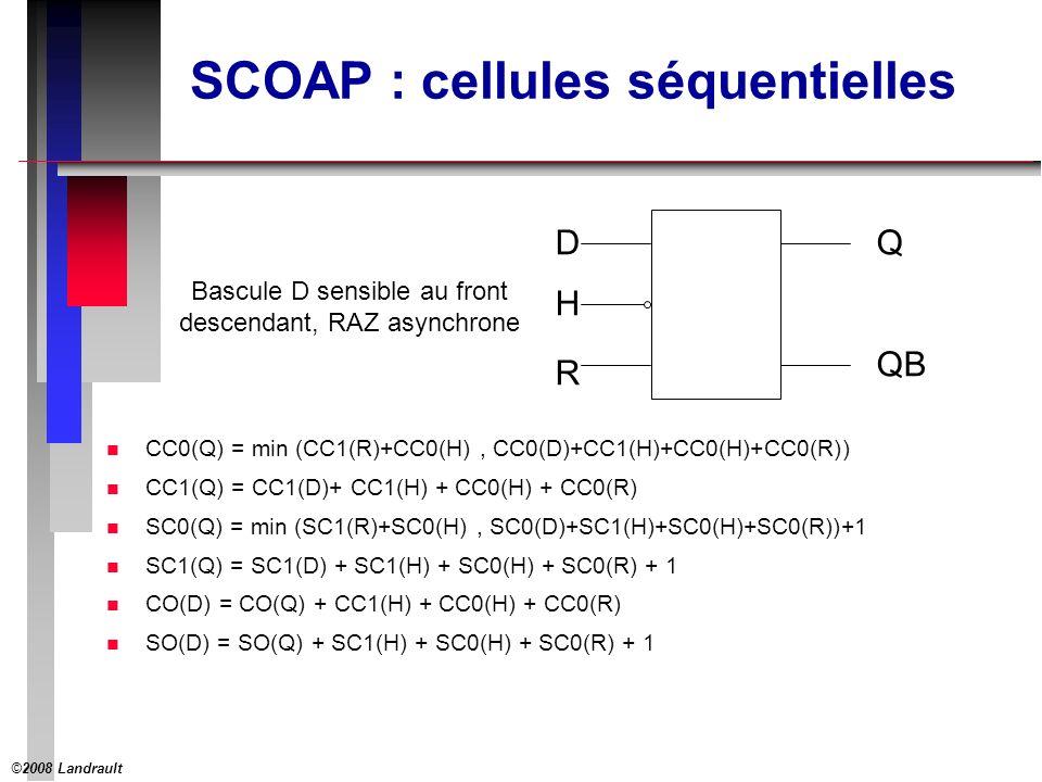 ©2008 Landrault 17 SCOAP : cellules séquentielles n CC0(Q) = min (CC1(R)+CC0(H), CC0(D)+CC1(H)+CC0(H)+CC0(R)) n CC1(Q) = CC1(D)+ CC1(H) + CC0(H) + CC0(R) n SC0(Q) = min (SC1(R)+SC0(H), SC0(D)+SC1(H)+SC0(H)+SC0(R))+1 n SC1(Q) = SC1(D) + SC1(H) + SC0(H) + SC0(R) + 1 n CO(D) = CO(Q) + CC1(H) + CC0(H) + CC0(R) n SO(D) = SO(Q) + SC1(H) + SC0(H) + SC0(R) + 1 D R Q QB H Bascule D sensible au front descendant, RAZ asynchrone