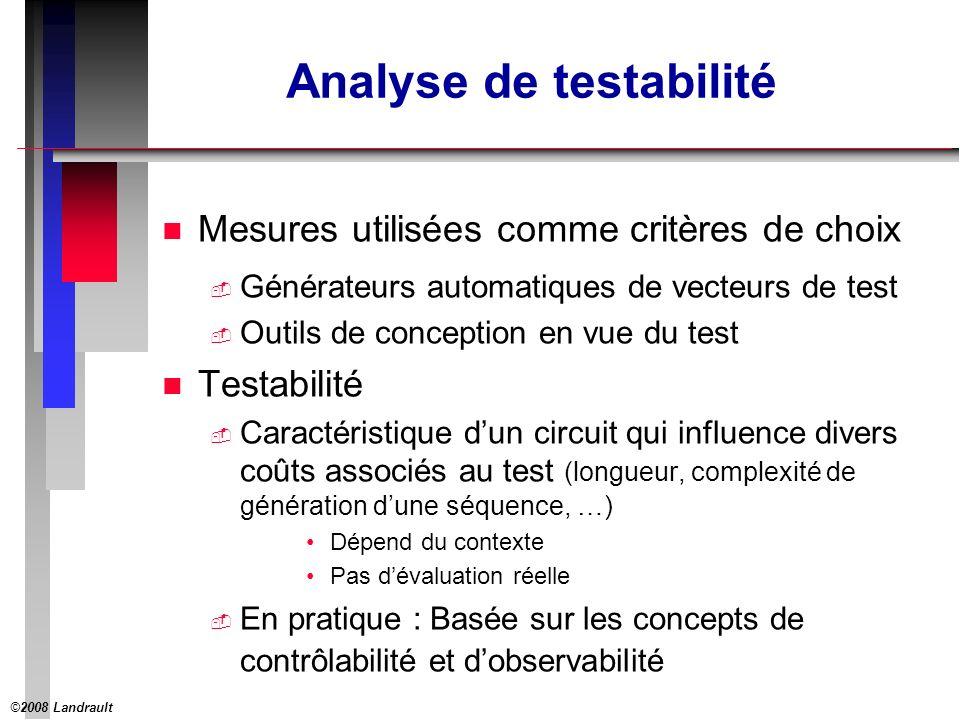 ©2008 Landrault 13 SCOAP : Exemple 1 e1e1 e2e2 e3e3 Initialisation s 5 6 7 8 11 1 1 1 1 1 1 0 CC0CC1 CO Phase 1 Initialisation Phase 2 9
