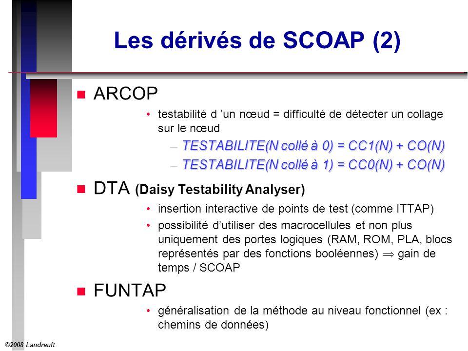 ©2008 Landrault 22 Les dérivés de SCOAP (2) n ARCOP testabilité d un nœud = difficulté de détecter un collage sur le nœud –TESTABILITE(N collé à 0) = CC1(N) + CO(N) –TESTABILITE(N collé à 1) = CC0(N) + CO(N) n DTA (Daisy Testability Analyser) insertion interactive de points de test (comme ITTAP) possibilité dutiliser des macrocellules et non plus uniquement des portes logiques (RAM, ROM, PLA, blocs représentés par des fonctions booléennes) gain de temps / SCOAP n FUNTAP généralisation de la méthode au niveau fonctionnel (ex : chemins de données)