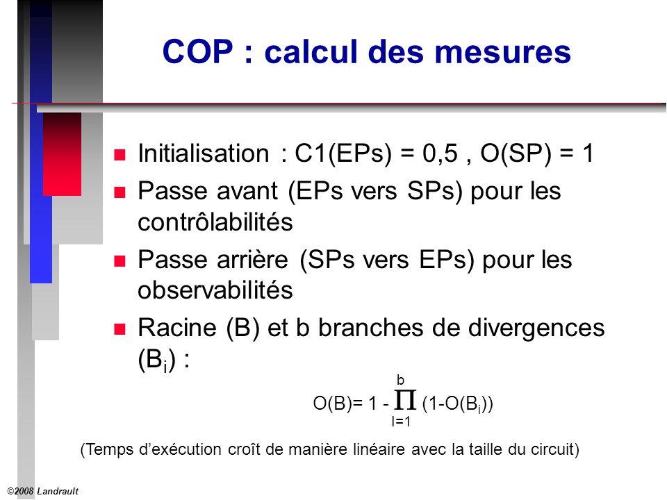 ©2008 Landrault 28 COP : calcul des mesures n Initialisation : C1(EPs) = 0,5, O(SP) = 1 n Passe avant (EPs vers SPs) pour les contrôlabilités n Passe arrière (SPs vers EPs) pour les observabilités n Racine (B) et b branches de divergences (B i ) : O(B)= 1 - (1-O(B i )) I=1 b (Temps dexécution croît de manière linéaire avec la taille du circuit)