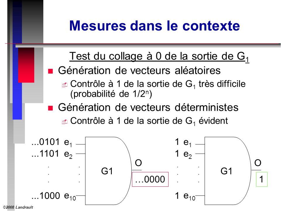©2008 Landrault 4 Mesures dans le contexte Test du collage à 0 de la sortie de G 1 n Génération de vecteurs aléatoires Contrôle à 1 de la sortie de G 1 très difficile (probabilité de 1/2 n ) n Génération de vecteurs déterministes Contrôle à 1 de la sortie de G 1 évident e1e1 e2e2 O e 10......