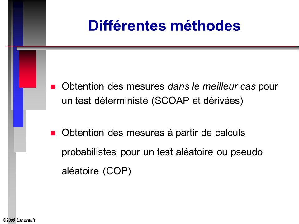 ©2008 Landrault 5 Différentes méthodes n Obtention des mesures dans le meilleur cas pour un test déterministe (SCOAP et dérivées) n Obtention des mesures à partir de calculs probabilistes pour un test aléatoire ou pseudo aléatoire (COP)