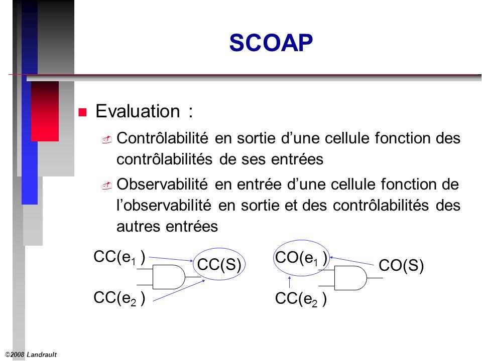 ©2008 Landrault 19 SCOAP : Exemple 2 (suite) 00 SC0 SC1 H DQ H DQ H DQ H DI I O3 O2O1 00 SC0(FB) 0 SC0(FB)+1 1 FB SC0(FB) = min( SC0(O1)+SC0(O3), SC1(O1)+SC1(O3) ) SC0(FB) = min( SC0(FB)+1+SC0(FB)+3, 1+3 ) = 1+3 SC0(FB) = 4 SC0(FB)+2 2 SC0(FB)+3 3 SC1(FB) = min( SC1(O1)+SC0(O3), SC0(O1)+SC1(O3) ) SC1(FB) = min( 1+SC0(FB)+3, SC0(FB)+1+3 ) = SC0(FB)+4 SC1(FB) = 8