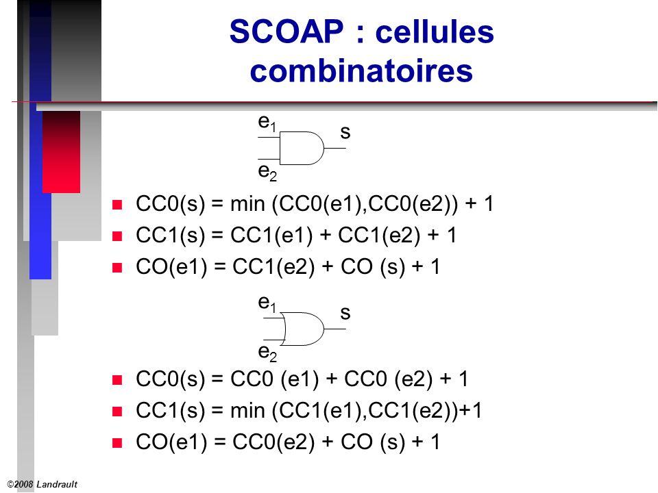 ©2008 Landrault 10 Portes logiques classiques AND2CC0(OUT) = min(CC0(IN1),CC0(IN2)) + 1 NAND2CC0(OUT) = CC1(IN1) + CC1(IN2) + 1 OR2CC0(OUT) = CC0(IN1) + CC0(IN2) + 1 NOR2CC0(OUT) = min(CC1(IN1),CC1(IN2)) + 1 INVCCO(OUT) = CC1(IN) + 1 BUFCCO(OUT) = CC0(IN) + 1 AND2CC1(OUT) = CC1(IN1) + CC1(IN2)) + 1 NAND2CC1(OUT) = min(CC0(IN1),CC0(IN2) + 1 OR2CC1(OUT) = min(CC1(IN1),CC1(IN2)) + 1 NOR2CC1(OUT) = CC0(IN1) + CC0(IN2)) + 1 INVCC1(OUT) = CC0(IN) + 1 BUFCC1(OUT) = CC1(IN) + 1 AND2CO(IN1) = CC1(IN2) + CO(OUT) + 1 NAND2CO(IN1) = CC1(IN2) + CO(OUT) + 1 OR2CO(IN1) = CC0(IN2) + CO(OUT) + 1 NOR2CO(IN1) = CC0(IN2) + CO(OUT) + 1 INVCO(IN1) = CO(OUT) + 1 BUFCO(IN1) = CO(OUT) + 1 Contrôlabilité Combinatoire à 0 Contrôlabilité Combinatoire à 1 Observabilité Combinatoire