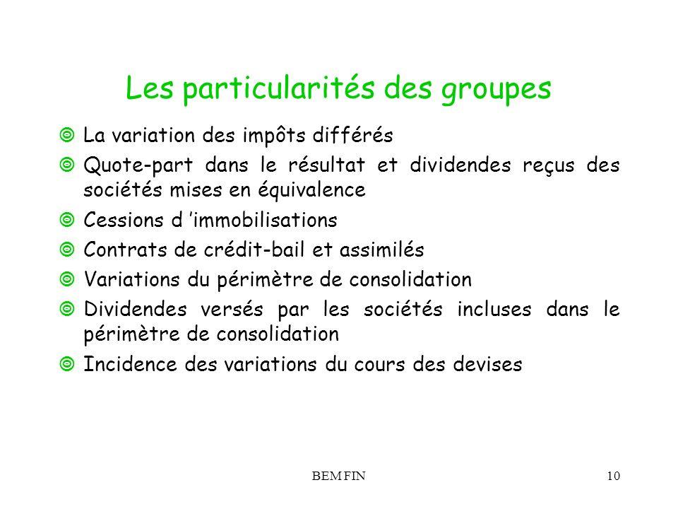 BEM FIN10 Les particularités des groupes La variation des impôts différés Quote-part dans le résultat et dividendes reçus des sociétés mises en équiva