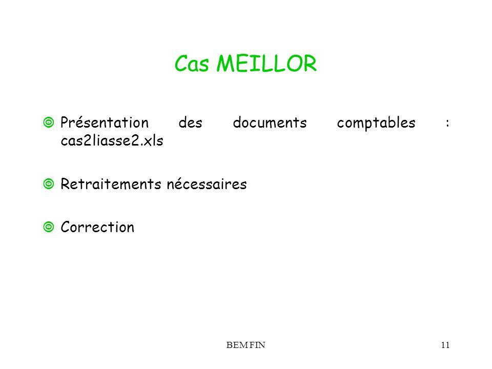 BEM FIN11 Cas MEILLOR Présentation des documents comptables : cas2liasse2.xls Retraitements nécessaires Correction