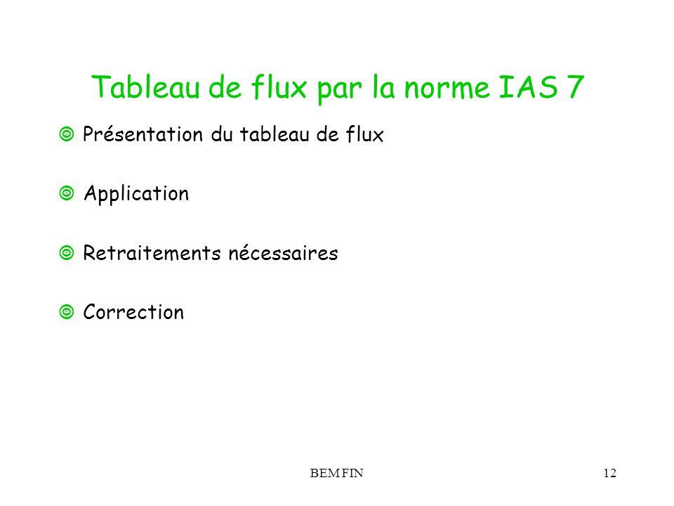BEM FIN12 Tableau de flux par la norme IAS 7 Présentation du tableau de flux Application Retraitements nécessaires Correction