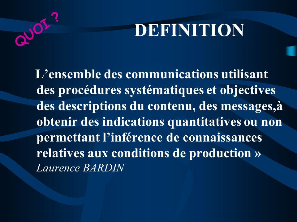 Lensemble des communications utilisant des procédures systématiques et objectives des descriptions du contenu, des messages,à obtenir des indications