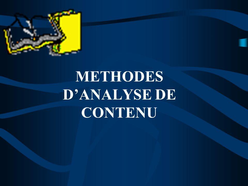 METHODES DANALYSE DE CONTENU