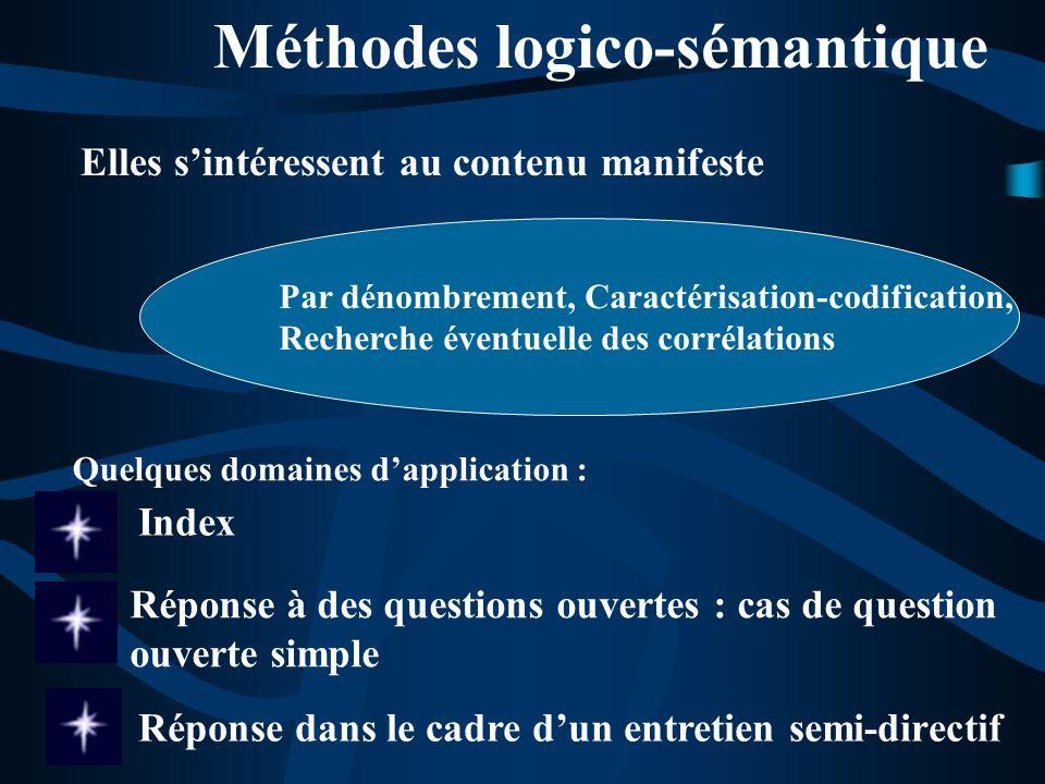 Méthodes logico-sémantique Index Elles sintéressent au contenu manifeste Par dénombrement, Caractérisation-codification, Recherche éventuelle des corr