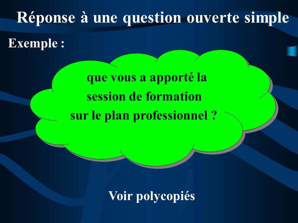 Exemple : Réponse à une question ouverte simple Voir polycopiés que vous a apporté la session de formation sur le plan professionnel ? que vous a appo