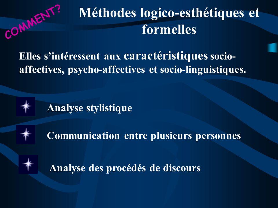 Méthodes logico-esthétiques et formelles Elles sintéressent aux caractéristiques socio- affectives, psycho-affectives et socio-linguistiques. Communic