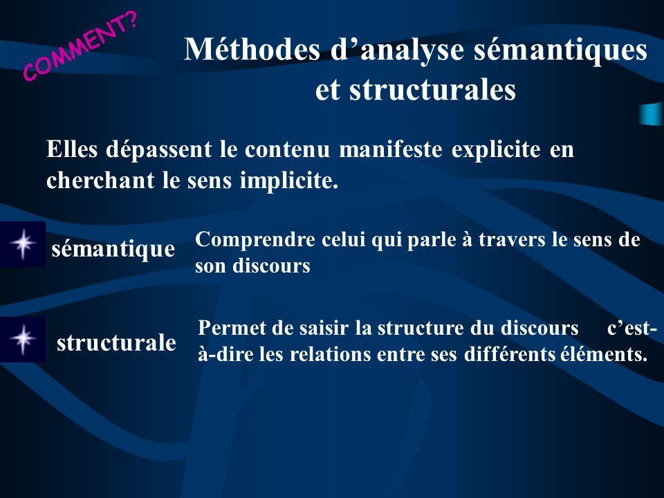 Méthodes danalyse sémantiques et structurales Elles dépassent le contenu manifeste explicite en cherchant le sens implicite. sémantique Comprendre cel