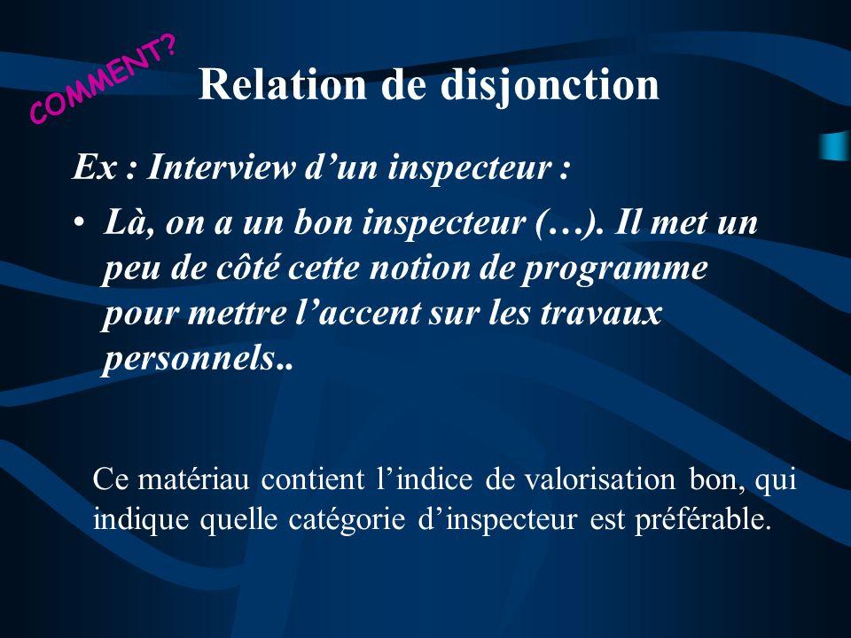 Ex : Interview dun inspecteur : Là, on a un bon inspecteur (…). Il met un peu de côté cette notion de programme pour mettre laccent sur les travaux pe