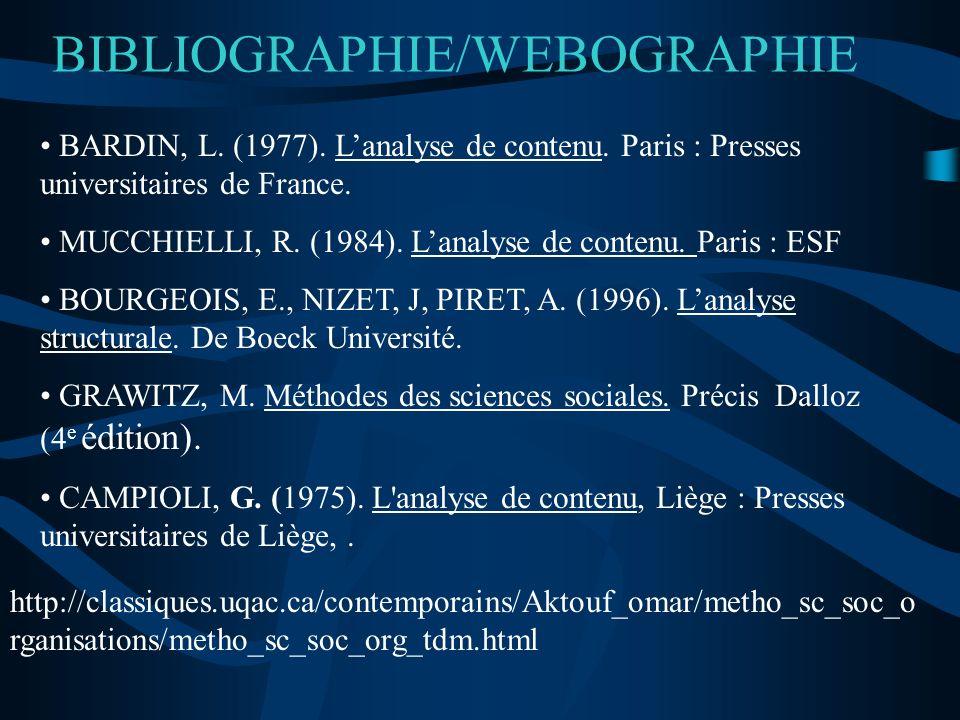 BIBLIOGRAPHIE/WEBOGRAPHIE BARDIN, L. (1977). Lanalyse de contenu. Paris : Presses universitaires de France. MUCCHIELLI, R. (1984). Lanalyse de contenu