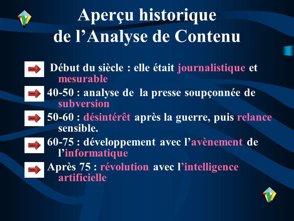 Aperçu historique de lAnalyse de Contenu Début du siècle : elle était journalistique et mesurable 40-50 : analyse de la presse soupçonnée de subversio