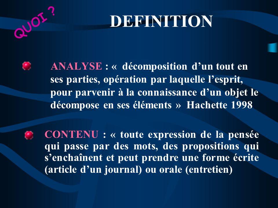 DEFINITION ANALYSER UN CONTENU « rechercher les informations qui sy trouvent, dégager le sens ou les sens de ce qui est présenté, formuler, classer le contenu du document ou de la communication » QUOI ?