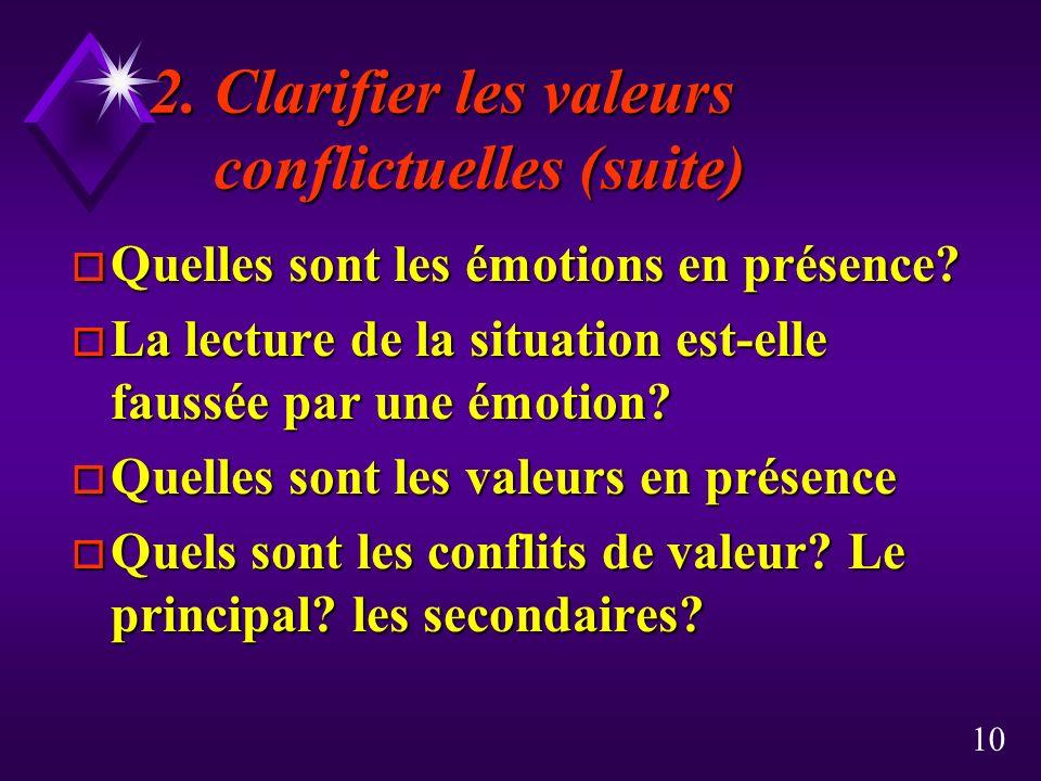 10 2. Clarifier les valeurs conflictuelles (suite) o Quelles sont les émotions en présence? o La lecture de la situation est-elle faussée par une émot