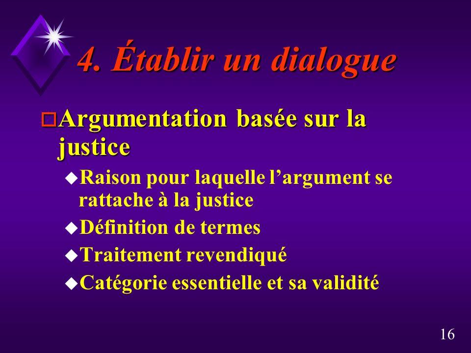 16 4. Établir un dialogue 4. Établir un dialogue o Argumentation basée sur la justice u Raison pour laquelle largument se rattache à la justice u Défi