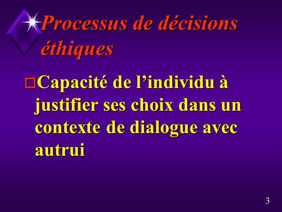 3 Processus de décisions éthiques o Capacité de lindividu à justifier ses choix dans un contexte de dialogue avec autrui