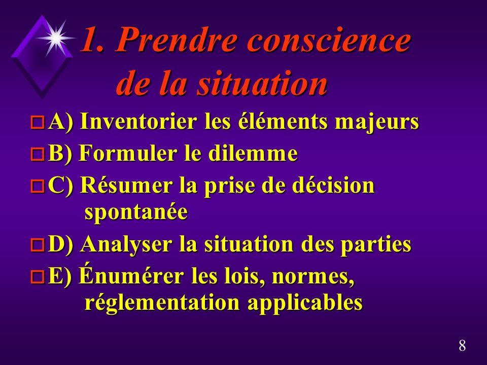 8 1. Prendre conscience de la situation 1. Prendre conscience de la situation o A) Inventorier les éléments majeurs o B) Formuler le dilemme o C) Résu
