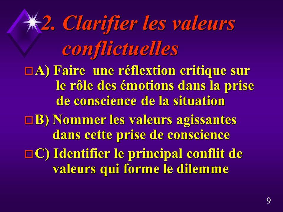 9 2. Clarifier les valeurs conflictuelles o A) Faire une réflextion critique sur le rôle des émotions dans la prise de conscience de la situation o B)