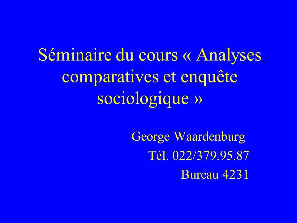 Séminaire du cours « Analyses comparatives et enquête sociologique » George Waardenburg Tél.