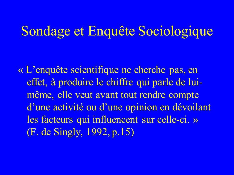 Sondage et Enquête Sociologique « Cette opinion publique [telle qu'elle est médiatisée] est un artefact pur et simple dont la fonction est de dissimul