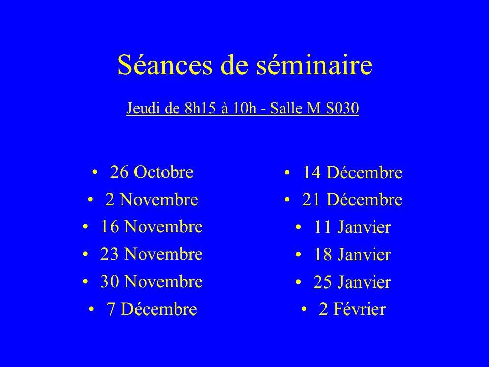 Séances de séminaire 26 Octobre 2 Novembre 16 Novembre 23 Novembre 30 Novembre 7 Décembre 14 Décembre 21 Décembre 11 Janvier 18 Janvier 25 Janvier 2 Février Jeudi de 8h15 à 10h - Salle M S030